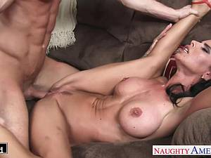 Beautiful Brandy Aniston gags on his dick before a shag