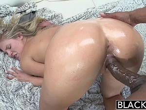 Golden haired Scarlet Red turned on by ebony men