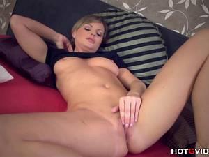 Big tit beauty moans as she rubs her MILF pussy